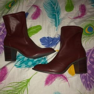 Burgundy Heeled Booties 3.5"